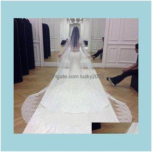 Aessórios, Party EventsKim Kardashian Branco Nupcial Véus Tule Hem Lace Appliques Wedding Veil 2021 Chegada 3 Metros pelo menos A6K1J
