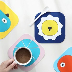 Cartoon Tableware Pad Placemat Table Mat PU Leather Heat Insulation Non-Slip Simple Placemats Disc Coaster Placemat for Dining Table