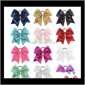 Rubber Bands Large Bowknot Sequin Grosgrain Ribbon Bows With Elastic Girls Paillette Band Barrettes Hair Pin Accessories Christmas Gif Li1Cw