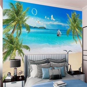 3d Seascape Wallpaper Coconut Sailboat Starfish Beautiful Sea View Decoration Interior Living Room Bedroom Kitchen Painting Mural Wallpapers