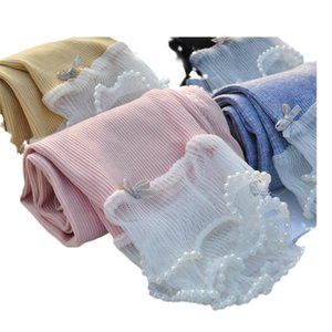 Girls Leggings Baby Pants Kids Tights Children Clothes Child Clothing Spring Autumn Cotton Long Trousers Lace Pearl B8663