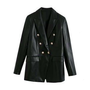 2020 autumn new women's imitation leather suit jacket long sleeve