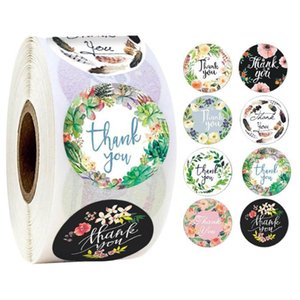 500pcs Round Floral Thank You Stickers 1inch for Wedding Favors and Party Handmade Stickers Envelope Seal Stationery Sticker HDD0041