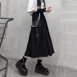 Skirts Gothic High Waist Cargo Woman Harajuku 2021 Loose A-line Pocket Midi Long Black Skirt Hip Hop Fashion Streetwear OverSize