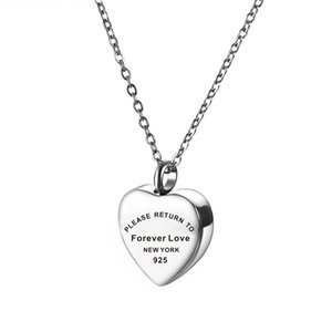 Ожерелье памяти сердца для женщин, пожалуйста, вернитесь навсегда влюбленные из нержавеющей стали.
