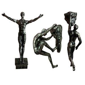 Retro Rock Klettern Figuren Harz Skulptur Handwerk Dekorationen Anhänger Statue Wohnzimmer Wand Dekorative Sportler 210414