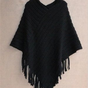 Men's and women's clothingAutumn Winter Blouse Women Size Sweaters Fashion Plus Geometric Shawl Cotton Sweater Loose Bat Tassel Poncho Cape C2O88