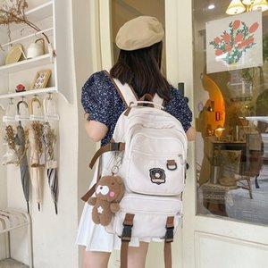 Backpack Fashion Women Waterproof Student Men Black Girls School Nylon Cute Bookbag For Teenage Rucksack Animal Pendant Blue