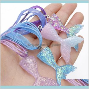 Design Mermaid Beauty Gardient Color Resin Ribbon Wax Rope For Girls Women 7Hizg Necklaces 7G4Vu