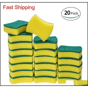 Sponges Household Tools Housekeeping Organization Home & Garden Drop Delivery 2021 20Pcs Sponge Scouring Pads Scrub Magic Eraser Cleaning Dis