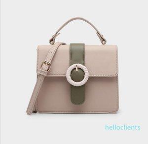 Women's Color contrast handbag shoulder bag retro messenger bag purse Clutch Bags