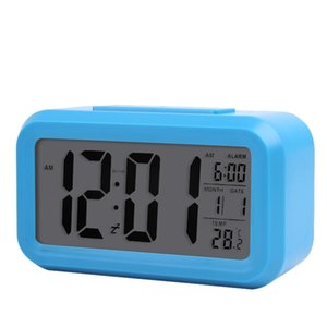 Smart Sensor Nightlight Digital Alarm Clock with Temperature Thermometer Calendar,Silent Desk Table Clock Bedside Wake Up Snooze 406 V2