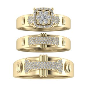 Wedding Rings Fashion Jewelry Rings, Cubic Alloy Zircon Three-piece Ring, Ms Ring