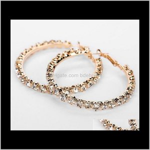 Hie Drop entrega 2021 Cristal Strass Gold Sliver Hoop Fashion Jewelry Brincos para mulheres Presente SQM2Q