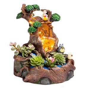 Micro Landscape Flowerpot Succulent Plant Pot Office Stump Flower Pots With Lamp Garden Decoration Gifts Wholesale Dropshipping L0409