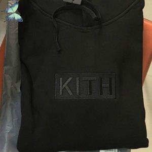 Вышивка Логотип Kith Hoody Розовая Черная Пара Платья Свободные Толстовки Оригинальные Теги Этикетки