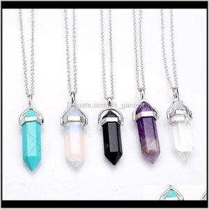 Форма настоящий аметист натуральный кристалл кварцевой целебный точка Chakra Bead Gemstone Opal камень кулон цепи ожерелья украшения WCW082 FFRM FR36Q