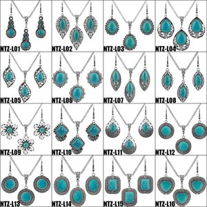 Fashion Jewelry Sets Women Turquoise Earrings & Necklace Silver Plate White Rhinestone Flower Elephant Owl Heart Cross Bohemian Earring Party Dress Matching