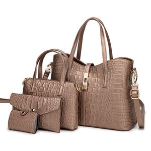 Ladies Handbags 2021 4pcs set Large Son and Mother Luxury Office Lady Fashion Croc Leather Tote Bags Big Purses Clutch Bag