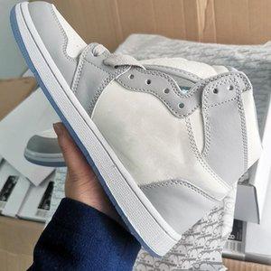 NIKE Air Jordan 1 AJ1 x Dior مربع مع الجديد كشفت رسميا بالتعاون الذكرى رمادي أبيض الفرنسية الاسلوب المناسب تسمية كيم جونز حذاء رياضة حذاء size36-46