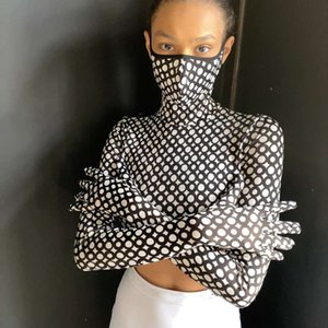 High Collar New Mask Long Sleeve Gloves Printed T-shirt for Women