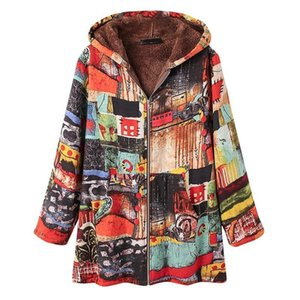 Winter Women Hooded Coat Cashmere Thicken Long Sleeve Splicing Large Size Zipper Jacket Retro Loose Abrigos Mujer Invierno #F