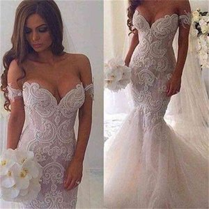 Pearl Beaded Lace Mermaid Wedding Dresses 2021 Off The Shoulder See Through Bridal Gowns Vestido De Noiva Slim Vintage Robe De Mariage
