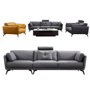 European modern simple leather sofa living room furniture solid wood frame coffee table leisure chair 1-4 seating style can be customized