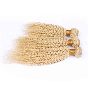 3 bündel und schließung blondine # 613 versaute lockige indische menschliche haare nähen mit schließung 4 \