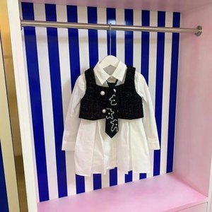 Designer children's Clothing Sets 2021 early autumn girls new product vest jacket with solid color shirt dress, western style and cute