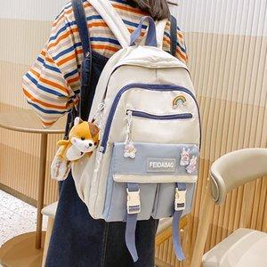 2021 Harajuku Womens Backpack Fashion laptop backpack Kawaii Teen Girl Nylon School Bag Student kids schoolbag rucksack