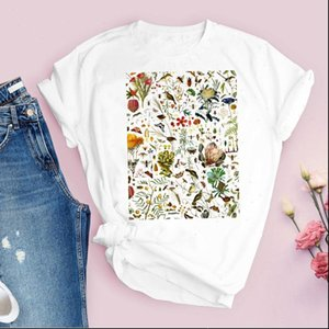 Women Graphic Plant Tops Flower Floral Casual 90s Cute Short Sleeve Lady Tees Clothing Female T Shirt Womens