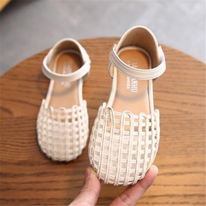 Sandals 2021 Summer Children's Retro Woven Baotou Flat Bottom Girl's Princess Shoes Cork Solid Color