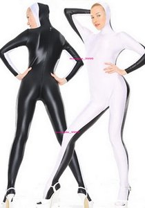 Black White Lycra Spandex Catsuit Costume Unisex Full Outfit Sexy Women Men Bodysuit Costumes With Open Face Halloween Party Fancy Dress Cosplay Suit M025