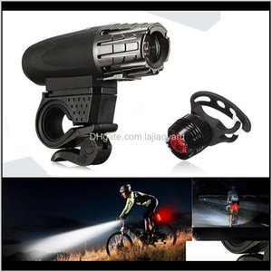 Lights Accessories Cycling Sports & Outdoors Drop Delivery 2021 Usb Rechargeable Led Bicycle Bright Bike Front Headlight + Rear Tail Light Se