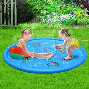 100cm Summer Kid Water Sprinkler Splash Play Pool Playing Sprinkler Mat Yard Outdoor Fun Multicolour PVC Material Cushion Toy X0710
