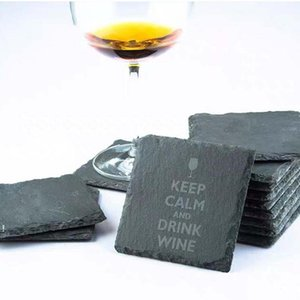 Natural Slate Coaster Table Decoration Whiskey Themed Wine Cup Holder Coasters Insulation Tea Mat OWD7343