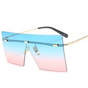 Moda europea de una sola pieza Gafas de sol de una sola pieza Personalidad Hombres y mujeres Calle Tendencia Cuadrado Gafas de sol UV400 de alta calidad con cajas de caja