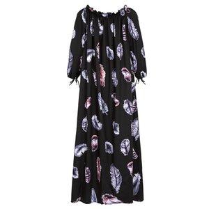 Dresses Women Vintage Floral Print Loose A-line Autumn Summer O-neck Petal 3 4 Sleeve Bohemian Elegant Party
