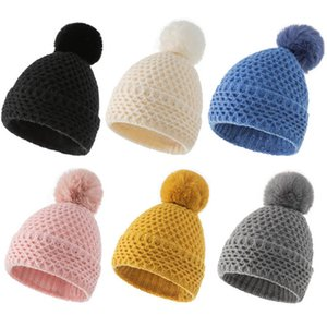 Kids Hats Beanie Girls Boys Hat Children Caps Accessories Autumn Winter Wool Knitted Cap Double-Layer Hollow Ball