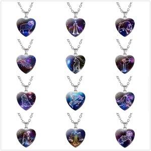 الأزياء اثني عشر كوكبة القلب الزجاج قلادة قلادة حزب المنزل المرأة الأرجواني سرز السماء سحر الهدايا ديكور