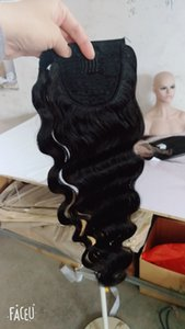 Body Wave Long Wavy Wrap Around Clip In Ponytail Hair Extension Brazilian Remy Human Hair Natural Color