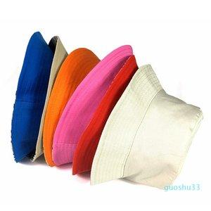 Travel Fisherman Bucket Hats Leisure Solid Color Fashion Men Women Flat Top Wide Brim Cap Kids Outdoor Sports Visor Hat TTA842