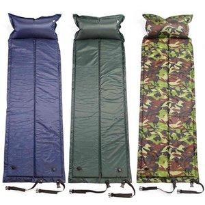 Inflatable Sleeping Pad Camping Roll Mat Sleeping Bed Inflatable Pillow Air Mattress Bag Camping Pad Picnic Beach Mat Sand Mat 210407