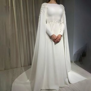 Arabic A Line Muslim Wedding With Cape Long Sleeves High Neck Bride Dress Lace Appliques Sweep Train Vestido De Novia