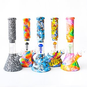 10.5inches Silicone Water Pipe Beaker Bong Hookahs with glass bowl 6 Arms Percolators dab oil rig