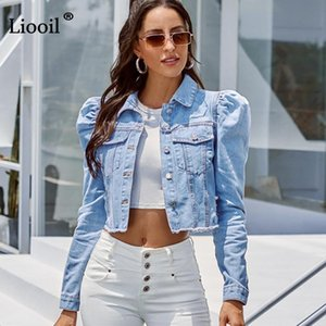 Blue Cropped Denim Jackets Women 2021 Puff Sleeve With Button Pockets Vintage Coat Autumn Winter Streetwear Ripped Jean Outwear Women's