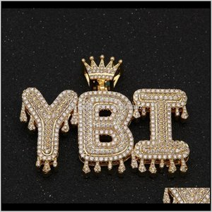 & Pendants Drop Delivery 2021 A-Z Custom Name Bubble Letters Necklaces Mens Fashion Hip Hop Jewelry Iced Out Gold Sier Crown Initial Letter P