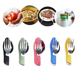 In 1 Folding Spoon Fork Set Multifunction Travel Camping Tableware Kit EJ Dinnerware Sets
