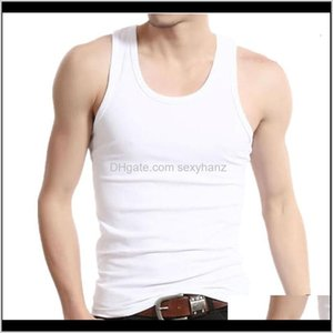Apparel Drop Delivery 2021 Undershirt Men Cotton Tank Tops Underwear Mens Transparent Shirts Male Bodyshaper Fitness Wrestling Singlets Solid